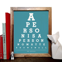 Dr. Seuss, A Person Is A Person No Matter How Small, Eye Chart, 8 x 10 Giclee Art Print, Buy 3 Get 1 Free