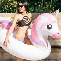 Emoji Unicorn White Pool Float