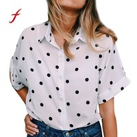 Feitong Summer polka dot chiffon blouse Women short sleeve white office shirt Ladies korean fashion streetwear tops