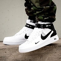 NIKE AIR FORCE 1 MID 07 Tide brand simple version OW high-top sports shoes White-1