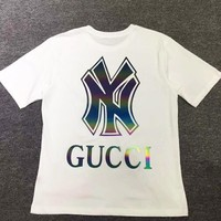 NY x GUCCI Fashion Casual Print Short Sleeve T-Shirt Top White