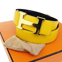 hermes belt, men hermes belt, women hermes belt, belt, belt hermes, belts for men, belts for women, Leather belt, men belt, mens belt, women belt,Auth HERMES Reversible Constance H Buckle Belt Leather Gold Yellow #68 64BA984