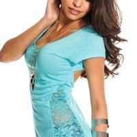 LIGHT BLUE WIDE NECK SHORT SLEEVES OPEN BACK LACE INSERT TOP