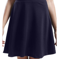 LE3NO Womens Flared Zip Up Skater Skirt (CLEARANCE)
