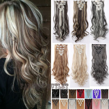 US Ship Mega Hair 24inch 60cm Clip in Hair Extensions 8pcs/set Long Hairpiece Curly Wavy Synthetic Natural Hair Extension Real Thick