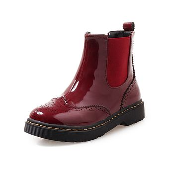 Patent Leather Fall Winter Ankle Chelsea Boots Women Shoes 1810
