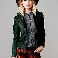 Doma Leather Womens Green Leather Hoodie - Bottle Green, S