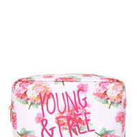FOREVER 21 Young & Free Floral Cosmetic Bag Cream/Pink One