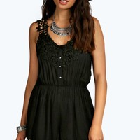 Fran Floral Lace Crochet Strappy Playsuit