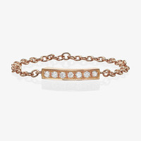 14k Gold and Diamond Chain Ring,Stackable Diamond Ring, Rose Gold Stacking Ring, 14k solid rose gold, Anniversary Gift, Unique Gift