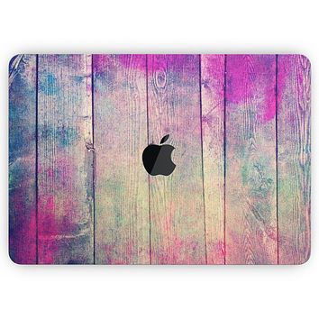 """Pink & Blue Grunge Wood Planks - Skin Decal Wrap Kit Compatible with the Apple MacBook Pro, Pro with Touch Bar or Air (11"""", 12"""", 13"""", 15"""" & 16"""" - All Versions Available)"""