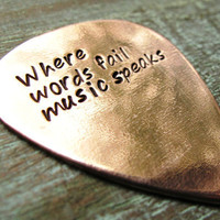 Hand Stamped Custom Guitar Pick Copper with by madebydawnrenee