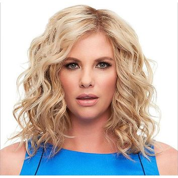Fashion blond wig fluffy personality short curly hair