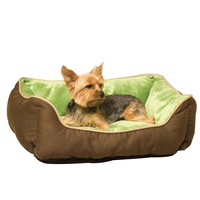 Small Dog or Cat Pet Bed Lounger Self-Warming in Mocha Green