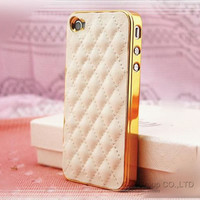 Luxury Sheepskin Leather Case for Apple iPhone 4 4S Soft Grid Pattern Back Skin Cover