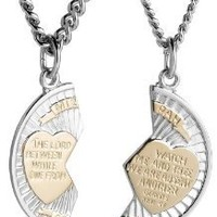 """Sterling Silver Mizpah Medal Necklace with Stainless Steel Chains, 20"""" and 24"""""""