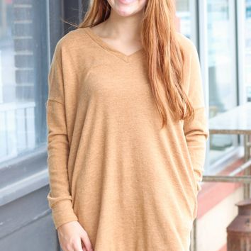 {Camel} Brushed Melange V-neck Tunic Sweater - Size XL