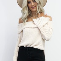 Good Morning Chenille Cream Off Shoulder Sweater