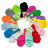 10 Pairs/ lot Hot Sale Colorful Design Women's Socks Quality Spring Summer Winter Pure Solid Multi Colors Sock Free Shipping