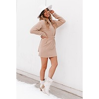 Special Treatment Sweater Dress (Taupe)