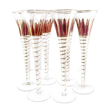 Bohemian Glass Gold Decorated Champagne Flutes Cranberry Flashed