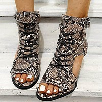 Summer fashion fish mouth new snake print buckle sandals female thick heel shoes