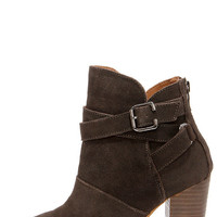 Chinese Laundry Zip It Smoke Suede Leather Booties