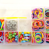 Loom Band Kit, DIY Bracelet Kit, Rubber Loom Bands Refill Pack with Acrylic Charms, Pendants and Jump Rings, Mixed Color Loom Band Craft