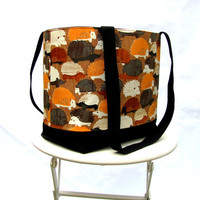 Hedgehog tote shoulder bag orange gray brown and black canvas by Patchtique