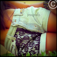 High waisted denim shortsStudded lace shorts by by Jeansonly