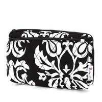 Belvah Quilted Damask Cosmetic Purse with Front Zipper Pocket