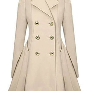 Women Long sleeves Attractive Double-Breasted Trench Coat = 1929781188