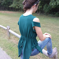 Ponderosa Green Fairy/Elf/Pixie Knit Top with Cold Shoulder Sleeves, Beaded V-Neck, Elastic Waist, Asymmetrical Draping - Fall Wear