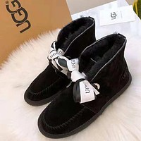 """UGG"" Popular Women Lovely Bowknot Warm Wool Ankle Snow Boots Black"