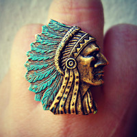 indian chief with turquoise head dress ring