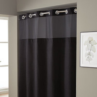 Hookless® Waffle Fabric Shower Curtain and Liner Set in Black