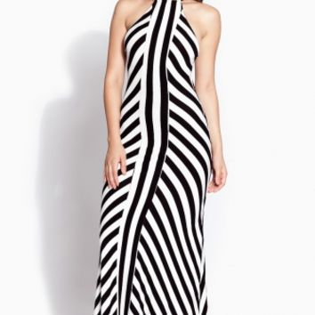 Striped Halter Mermaid Maxi Dress @ Cicihot sexy dresses,sexy dress,prom dress,summer dress,spring dress,prom gowns,teens dresses,sexy party wear,ball dresses