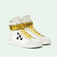 "Off-white Arrows High Top Sneakers ""White&Gold""OMIA051F173500201001"