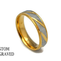 Engraved Man Stainless Silver Gold Ring - Personalized Steel Ring - Stainless Men Stripes Custom Ring - Custom Engraved Ring  Him