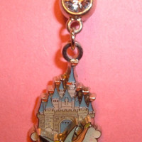 Flying TINKERBELL with Castle Disney Belly Navel Ring Body Jewelry