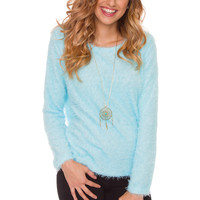 Aria Fuzzy Sweater - Blue