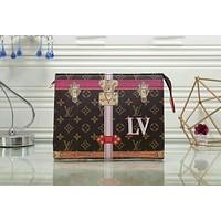 LV Louis Vuitton Trending Woman Men Stylish Envelope Clutch Bag Monogram Leather File Bag Tote Handbag Coffee I-LLBPFSH