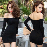 New Women Off Shoulder Stretch Tunic Tight Fitted Club wear Party Sexy Mini Dress Black Vestidos 2956 One Size (Size: One Size, Color: Black)