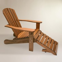Wood Adirondack Chair with Stow Away Ottoman