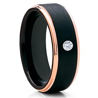 Black Tungsten Ring - White Diamond Tungsten - Rose Gold Tungsten Ring