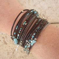 Boho Brown Leather Wrap Bracelet with Silver and Turquoise Accents  by DesignsbyNoa