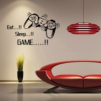 Eat Sleep Game Letters Game Controller Vinyl Wall Stickers for Boys Bedroom Home Decorations Hogard