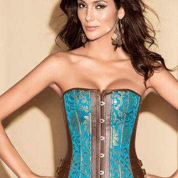 Blue Floral Print with Side Buckle Corset
