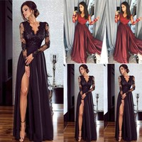 Lace Long Sleeve Women Formal Sexy Deep  Party Ball Prom Gown Dress