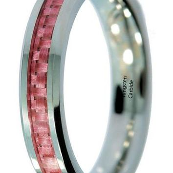 CERTIFIED 4mm Tungsten Carbide Pink Carbon Fiber Inlay Wedding Band